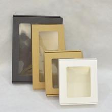10 шт крафт-бумажная коробка для упаковки индивидуальные коробки с ЛОГОТИПОМ Упаковочная коробка с окном черная упаковочная коробка Персон...