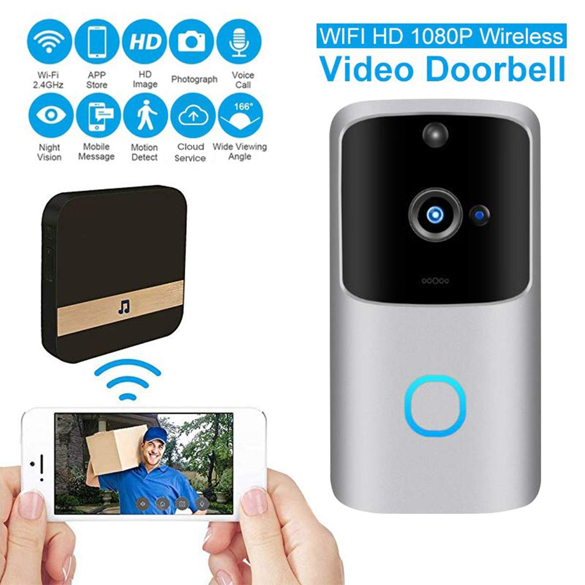 HD 1080P Smart WiFi Video Doorbell Camera Visual Intercom Night Vision IP Door Bell Wireless Security Camera Smart Doorbell