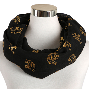Image 4 - Foxmother Nieuwe Folie Gold Sliver Olifant Animal Print Sjaal Hijab Moslim Sjaal Wraps Ring Loop Sjaals Vrouwen