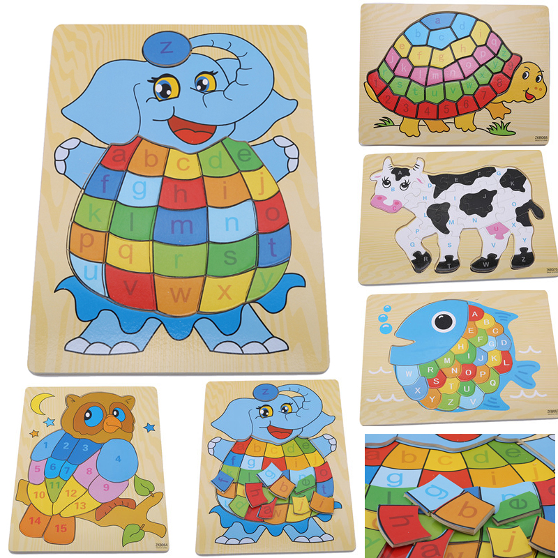 Jigsaw Board Wooden Tangram Cartoon Fish Letter Puzzle Animal Brain Teaser Children's Education Puzzle Learning Kids Toys