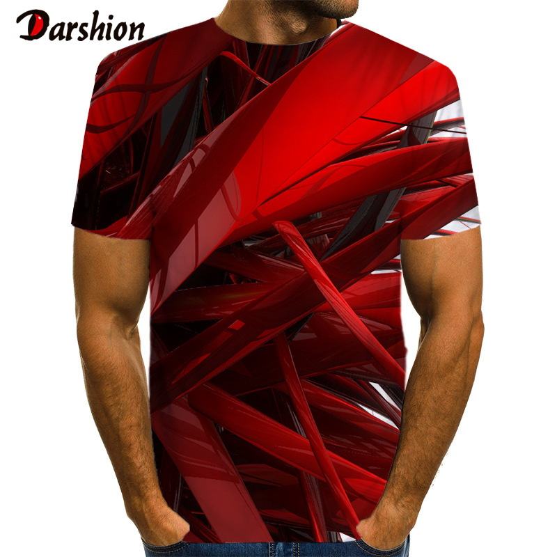 3D Geometric Stripe Red Pattern Print  Men 3d T-shirt Black Tee Casual Top Anime Camiseta Streatwear Short Sleeve Cloth Size 6xl
