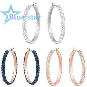 Swarovskis оригинальные 1:1, изысканные серьги, большие серьги-кольца, ПАВЕ кристалл, синий и белый, украшение из розового золота