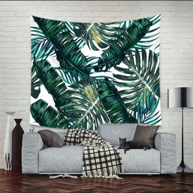 Tropical Plant Tapestry Wall Hanging Polyester Thin Bohemia Cactus Banana Leaf Print Tapestry Beach Towel Cushion