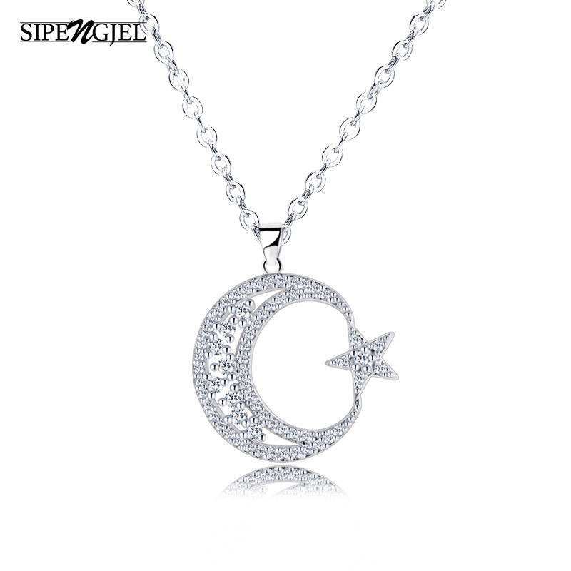 trendy Cubic Zirconia star Moon pendant Necklace luxury hollow Choker Necklace For Women Korean Jewelry X-l0122