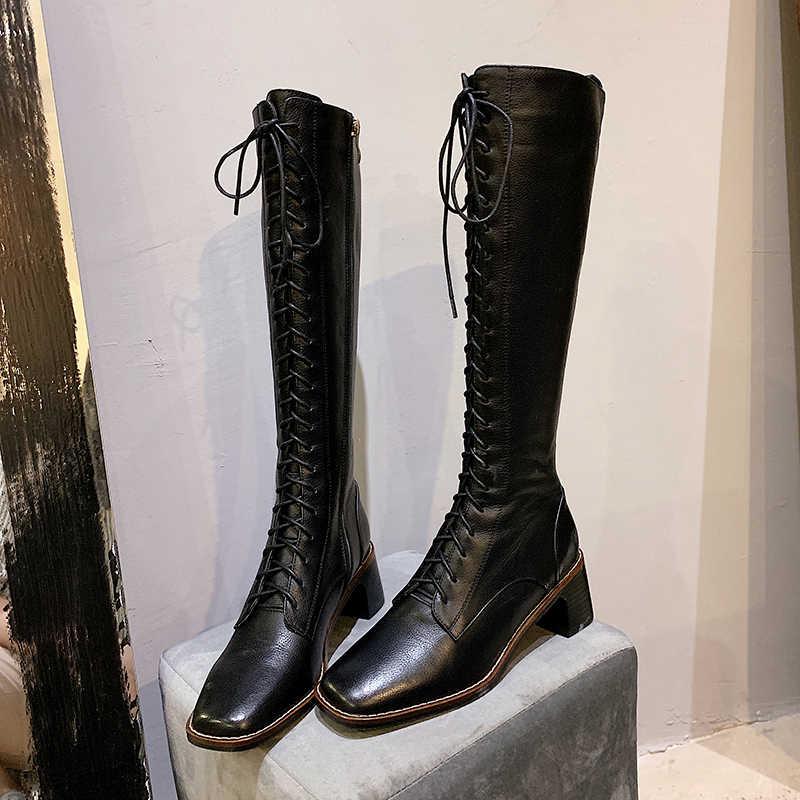 ISNOM yüksek topuklu çizmeler kadın çapraz bağlı orta buzağı çizme kadın motosiklet ayakkabı kadın kare ayak ayakkabı bayanlar kış 2020 yeni