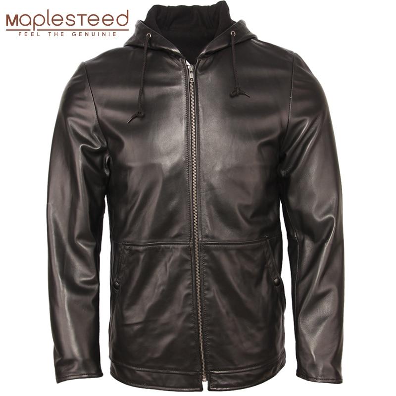 Men Leather Jacket Hood 100% Natural Sheepskin Soft Thin Leather Jacket Men's Skin Coat Boy Leather Clothing Spring Autumn M360