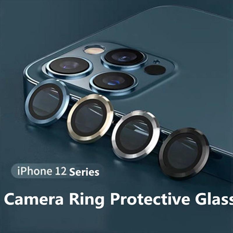 Per iPhone 12 Pro Max anello in metallo proteggi obiettivo per fotocamera con copertura completa in vetro per iPhone 12pro max 12mini 12pro cappuccio protettivo 1