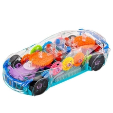 Transparent Electric Driving Colorful Light Music Mechanical Gear Car Children's Toy