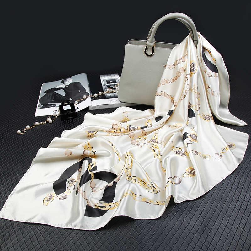 Fashion Silk Scarves For Women Print Satin Hijab Scarfs Female Foulards Bandana Luxury Brand Shawls Wraps 90cm Square Head Scarf