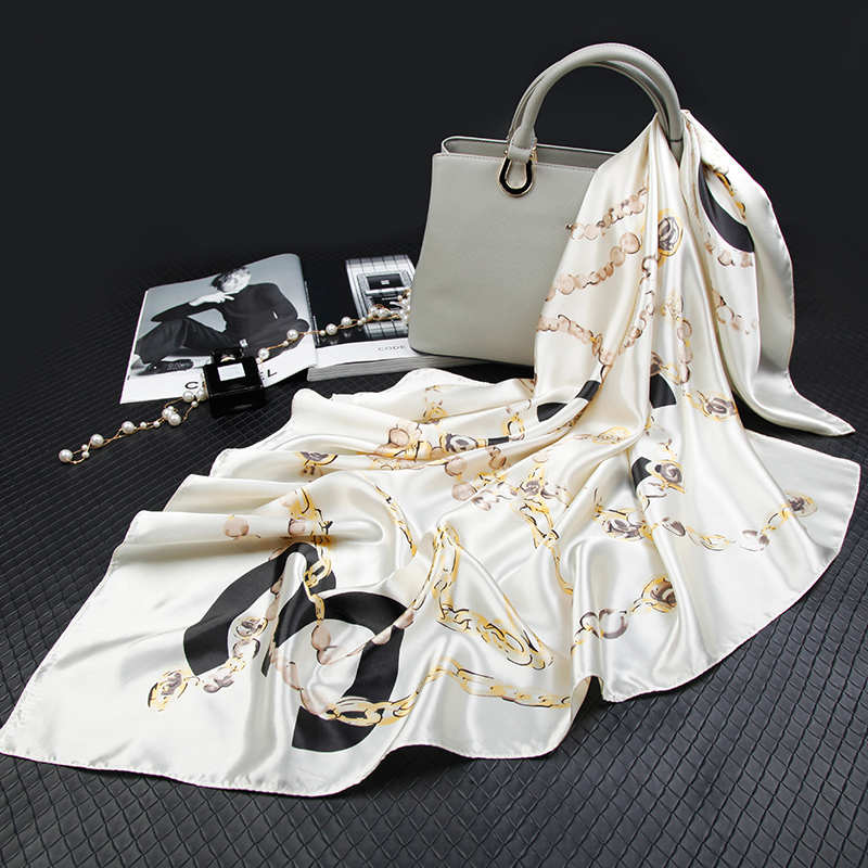 Fashion Silk   Scarves   for Women Print Satin Hijab Scarfs Female Foulards Bandana Luxury Brand Shawls   Wraps   90cm Square Head   Scarf