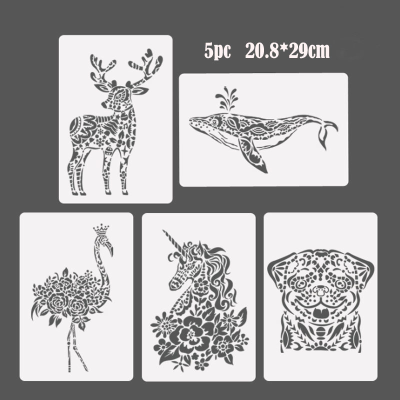 5pc Unicorn Stencil Bullet Journal Painting Template DIY Wall Painting Scrapbook Coloring Embossing Album Decorative Template