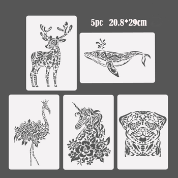 5pc Unicorn Stencil Bullet Journal Painting Template DIY Wall Painting Scrapbook Coloring Embossing Album Decorative Template free shipping stencil painting template stamps diy scrapbooking photo album cards decorative embossing cake fondant cupcake tool
