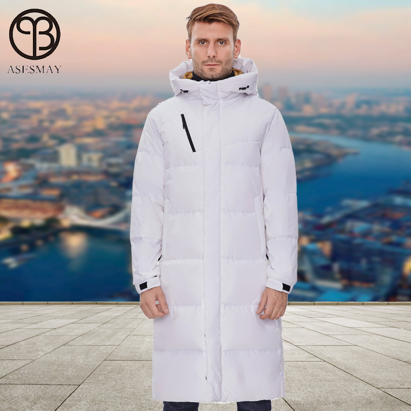 Asesmay White Duck Down Jacket Men Parkas Long Hooded Coat Goose Feather Wellensteyn Minus Degree Thick Warm Puffer Jackets