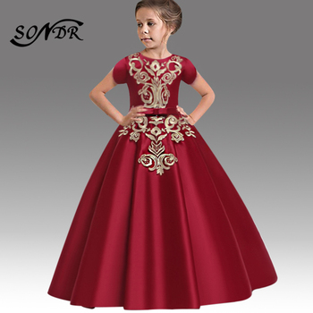 Solid A-Line Flower Girl Dress HT204 Embroidery Formal Wedding Party Dresses For Kids O-Neck Short Sleeve Girls Pageant Dress kids girls summer dress red yellow solid color o neck flowers pattern a line knee length regular sleeveless girl dresses 5ds274
