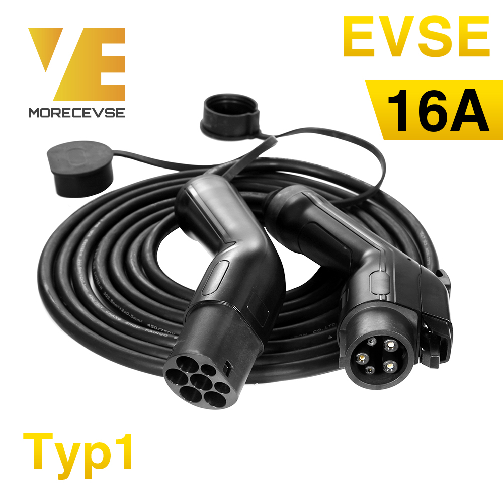 Morec EV Charging Cable 16A 3.6KW For Electric Car Charger Station Type 1 To  2, SAE J1772 5M