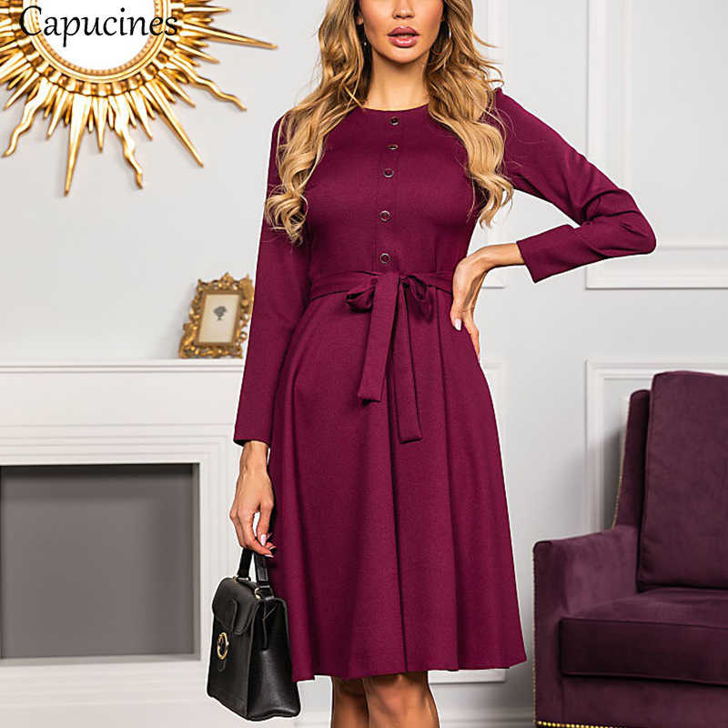 Capucines Elegant Button Sashes A-Line Dress Women Autumn Casual Round Neck Long Sleeve Vintage Solid Lady Office Mini Dresses