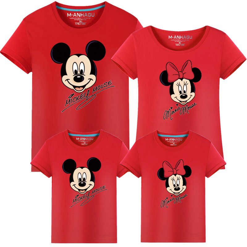 Familie Kleding Mode Moeder Vader Dochter Zoon Family Look Bijpassende T-shirt Minnie Mickey Mouse Shirts Familie Zomer Outfits