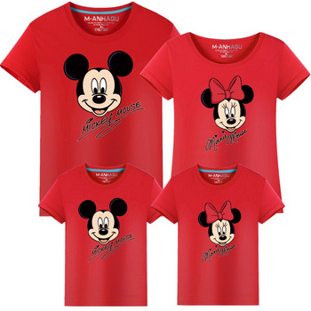 Family Clothes Fashion Mother Father Daughter Son Family Look Matching T shirt Minnie Mickey Mouse Shirts Family Summer Outfits summer family look clothes boy t shirts mother