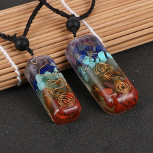 Natural Chip Gravel Stone Resin 7 Chakra Orgone Energy Pendant Necklace Reiki Healing Pendulum Amulet For Men Women Couples