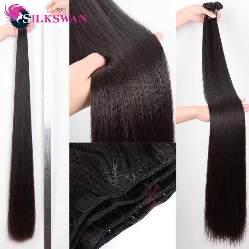 Silkswan 32 34 36 38 40 inç düz insan saçı demetleri 3 4 adet Remy saç uzatma brezilyalı saç örgü demetleri