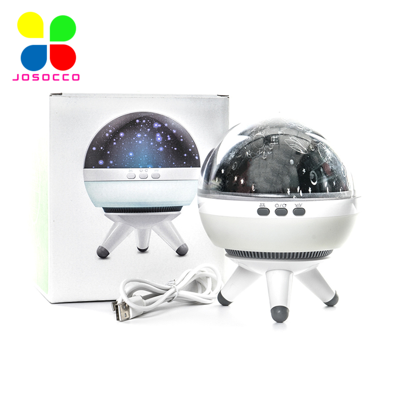 JOSOCCO Led Night Light Rotating Projector Spin Starry Sky Star Master Children Kids Baby Sleep Romantic Led USB Lamp Projector