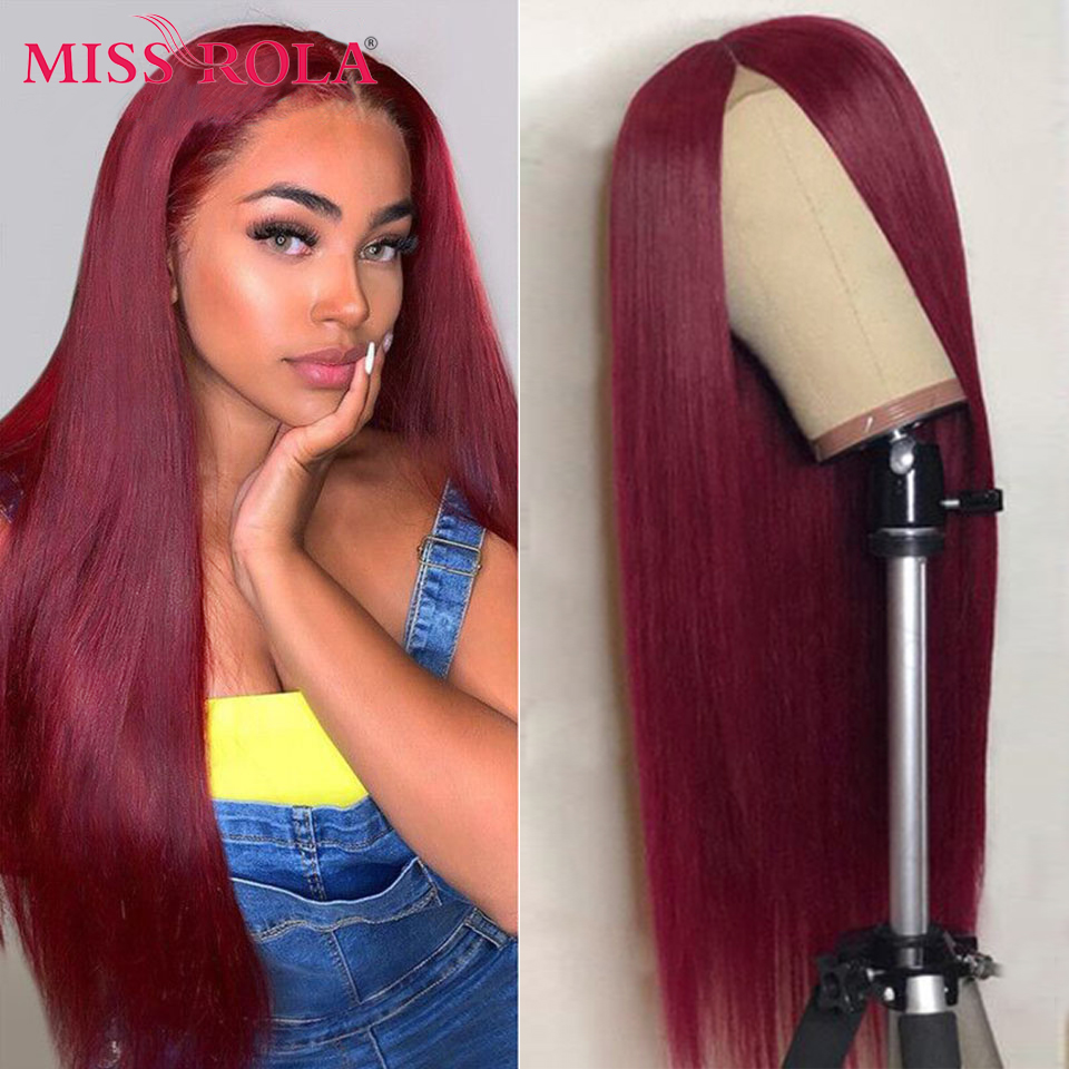 Miss Rola – perruque Lace Closure Wig Remy 100% naturelle, cheveux lisses, ombré rouge bordeaux Blond 99J, Orange, 4*4, pre-plucked