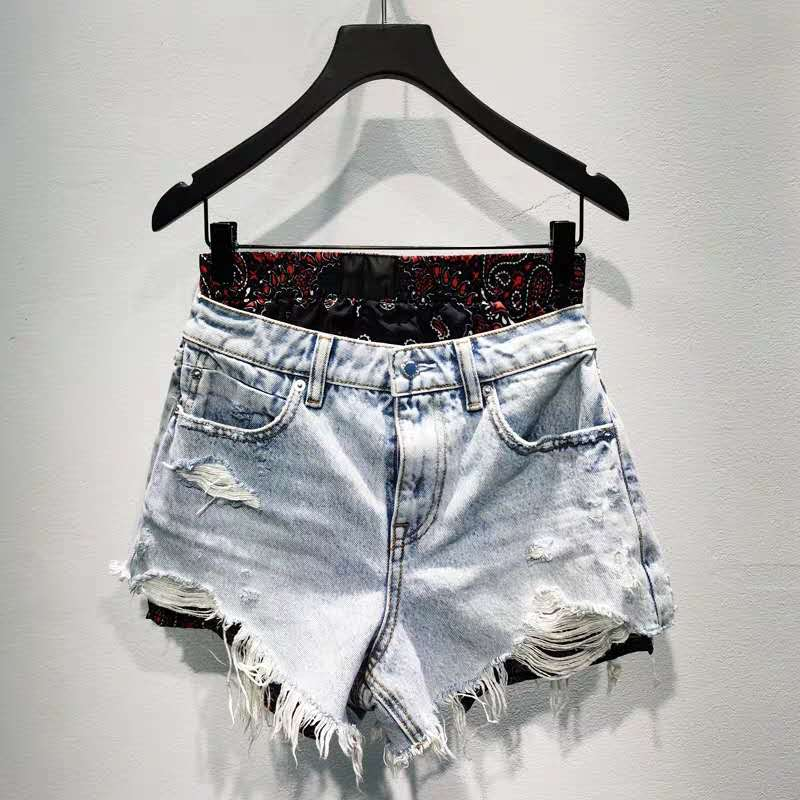 2020 Spring Summer Women Ripped Burr Shorts Stitching Ripped Washed Denim Shorts A2