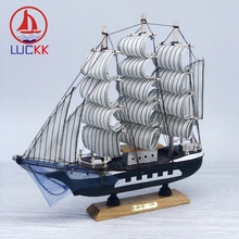 LUCKK 24CM Mediterrean Style Handmade Wooden Sailing Boats Model With Blue Net Nordic Home Interior Decor Crafts Nautical Gifts