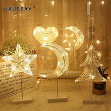 цена на Hand-Woven LED Light Rattan Table Lamp Battery Night Light Braid Star Tree Shape Lighting Christmas Decoration Home decor D064