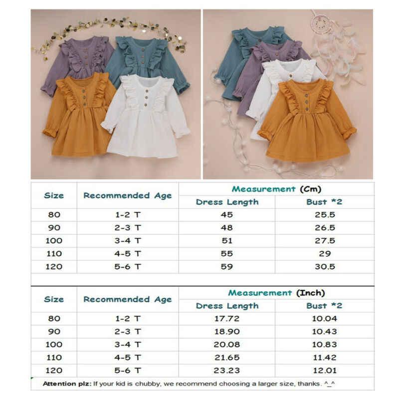 1-6Y פעוט ילדים תינוקת סתיו שמלת קפלי שרוול ארוך מוצק כותנה פשתן מסיבת שמלה מזדמן בגדים