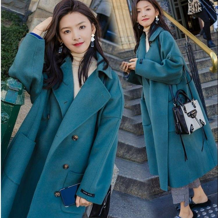 Large Size 2019 Fashion Women Winter Jacket Wool Coat Female Long Paragraph Long Sleeve Coat Thick Woolen Blends Outwear