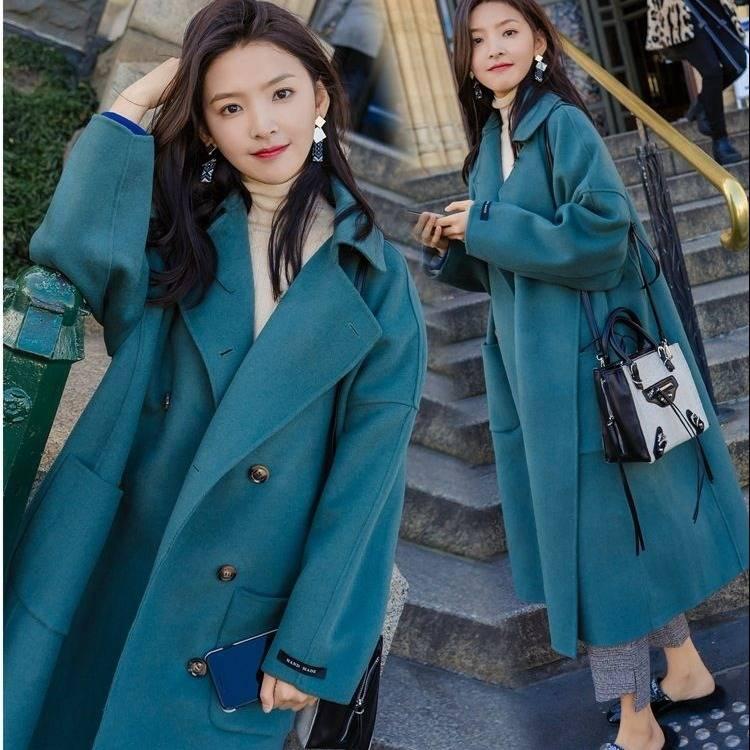 Large Size 2019 Fashion Women Winter Jacket Wool Coat Female Long Paragraph Long Sleeve Coat Thick Woolen Blends Outwear