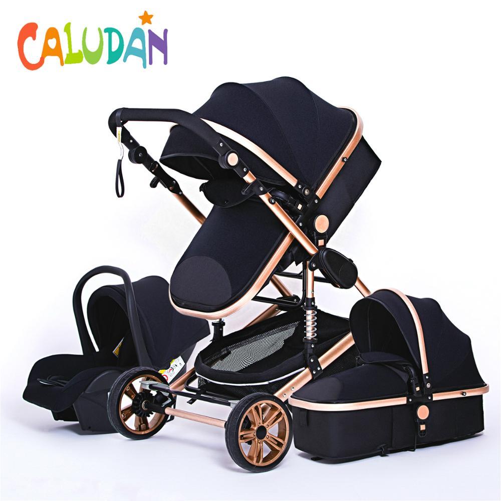 Luxuoso carrinho de bebê 3 em 1 genuíno portátil carrinho de bebê dobrável carrinho de bebê quadro de alumínio alta paisagem para o bebê recém-nascido