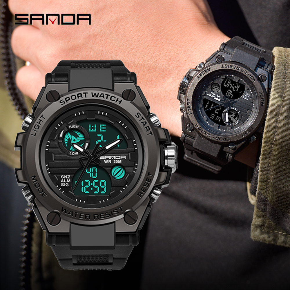 SANDA Outdoor Sports Men's Watches Military quartz Digital LED Watch Men Waterproof Wristwatch S Shock Watches relogio masculino 1