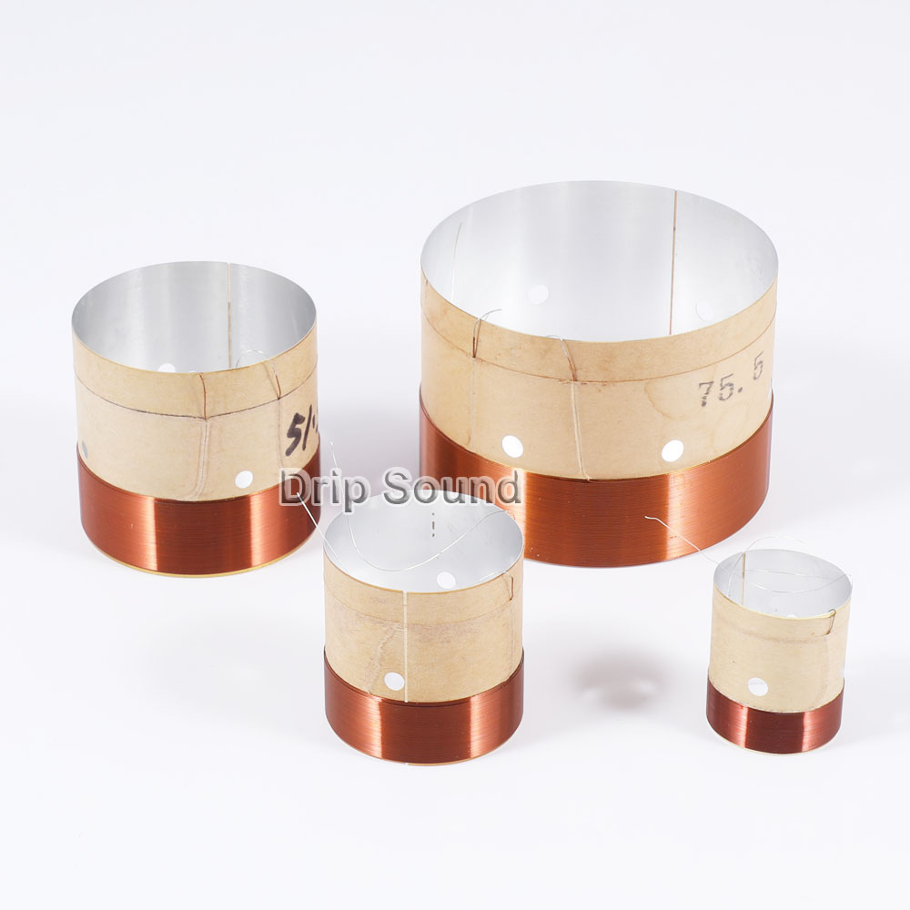 2pcs 25.5/35.5/38.5/49.5/51.5/65.5/75.5mm Core Bass Voice Coil ASV White Aluminium Woofer Sound Drive Speaker Repair Parts