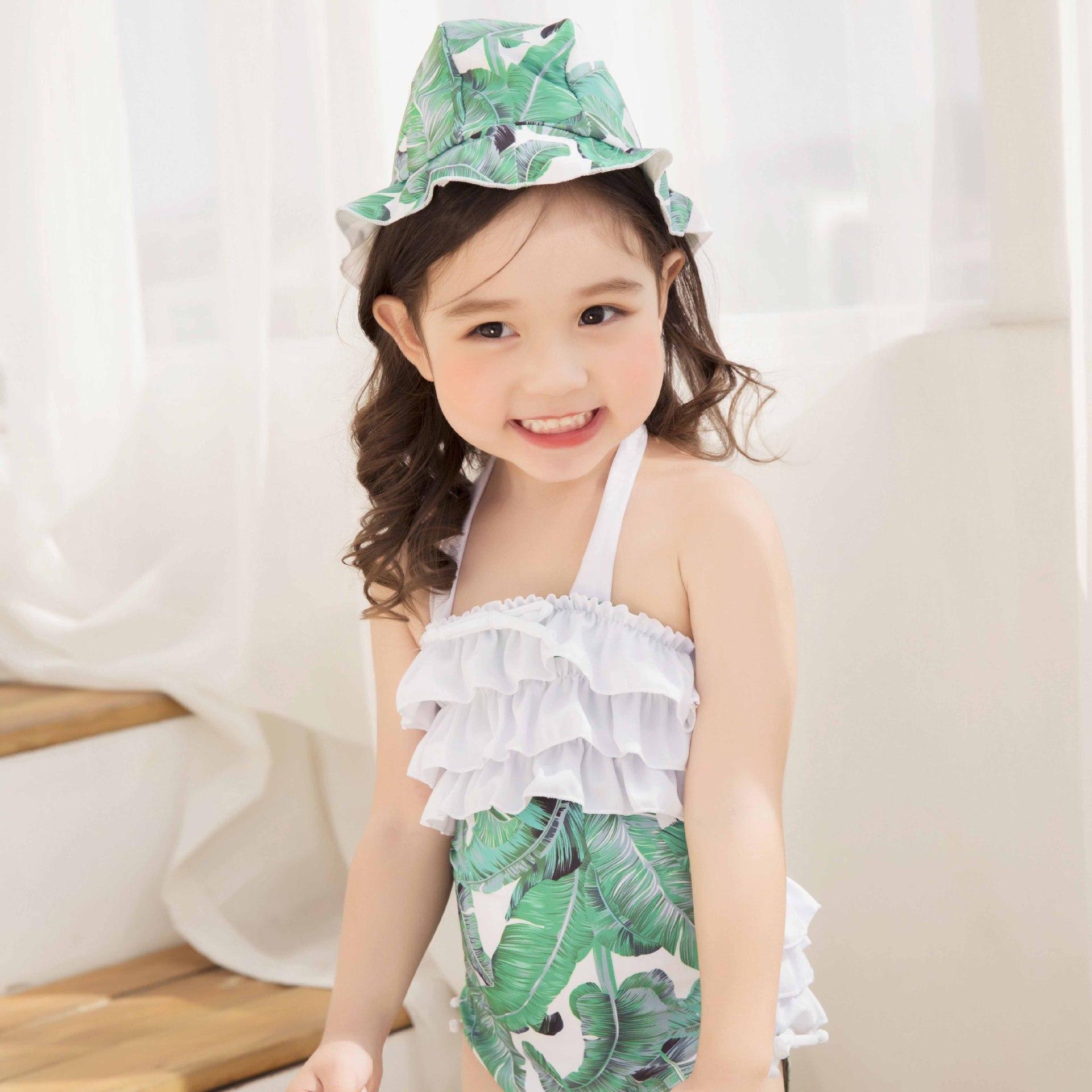 KID'S Swimwear Printed Girls With Hat One-piece Swimming Suit Retro Children Baby Swim Bathing Suit Triangular Hot Springs Swimw