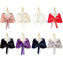 Mùa Đông Ấm Lông Khăn Choàng Cô Dâu Boleros 8 Màu Sắc Nữ Bolero Lông Thú Giả Mũi Khăn Choàng Cưới Dạ Hội Đầm Vải Choàng Dạ Hội áo Khoác Nhún Vai