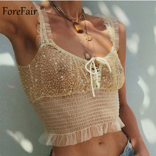 Forefair Sequin Corset Tops Transparent Sexy Mesh Women Summer Clothing 2020 Off Shoulder Paillette Glitter Women Crop Tops