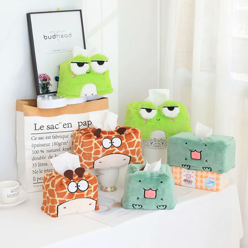 Dinosaur Tissue Paper Plush Case Box Container Giraffe Frog Home Car Napkin Papers Bag Holder Box Case Animal  Table Decoration
