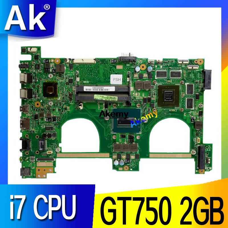 AK N550JV For ASUS N550jv N550JK N550J N550JX Laptop Motherboard I7 CPU GT750 2GB GPU Mainboard Test New Motherboard
