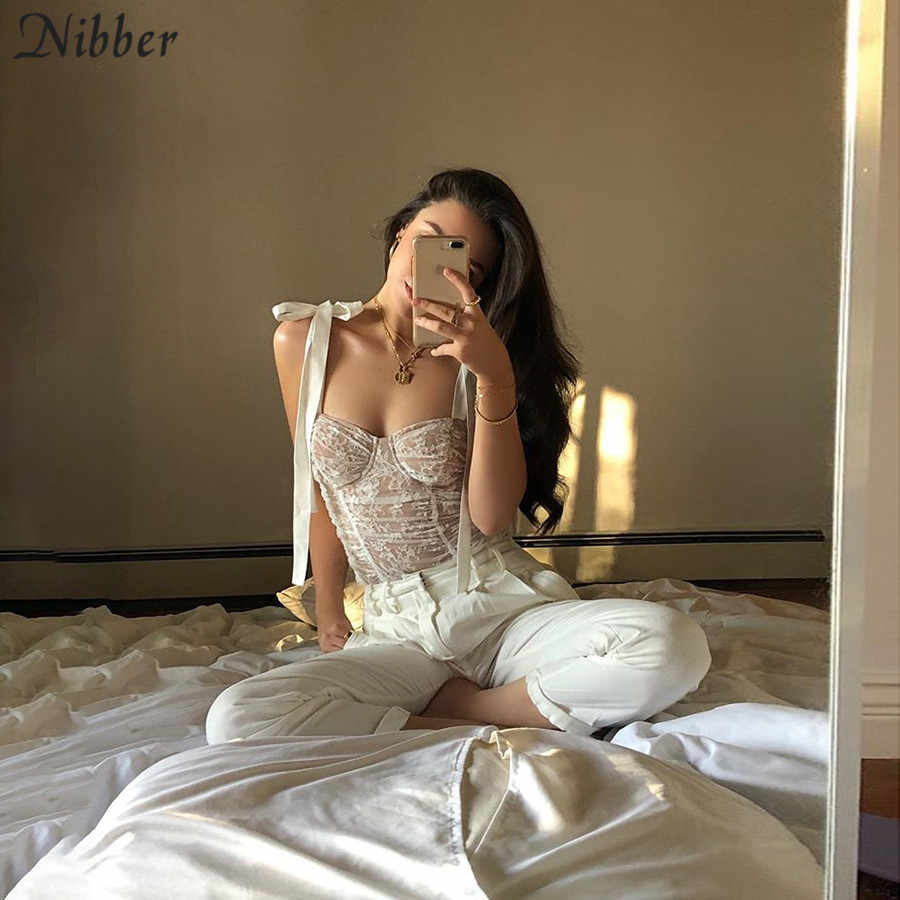 Nibber autumn sexy white lace up tops women tassel camisole 2019 fashion club party Elegant Slim tees mujer wild pure Basic tees