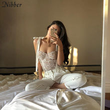 Nibber outono sexy lace up branco tops mulheres tassel camisole 2019 fashion club party Elegante Magro tees mujer selvagem puro tees básicas(China)