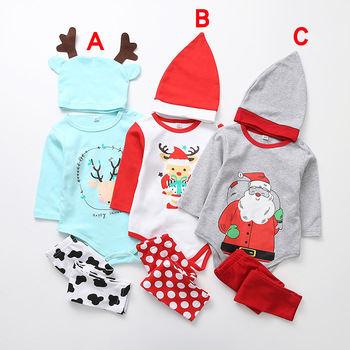3pcs Baby Boy Girl Clothes Merry Christmas Romper+pants+Hat Outfit Clothing Set 3 Styles