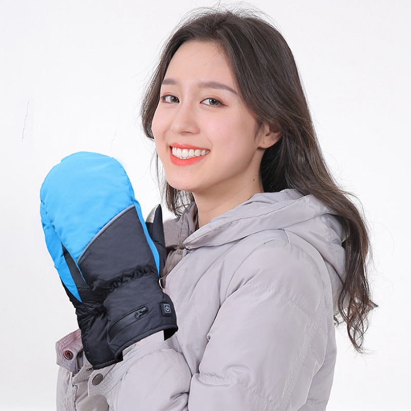 Women Electric Heating Gloves Rechargeable Insulated Press Screen Heated Gloves For Winter Hand Warmer Ski Gloves EU Plug