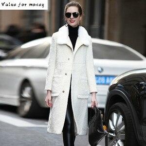 Мех Настоящее пальто с мехом норки меховой воротник 52% кашемир 33% шерсть куртка Осенне-зимнее пальто женская одежда 2020 в Корейском стиле вин...