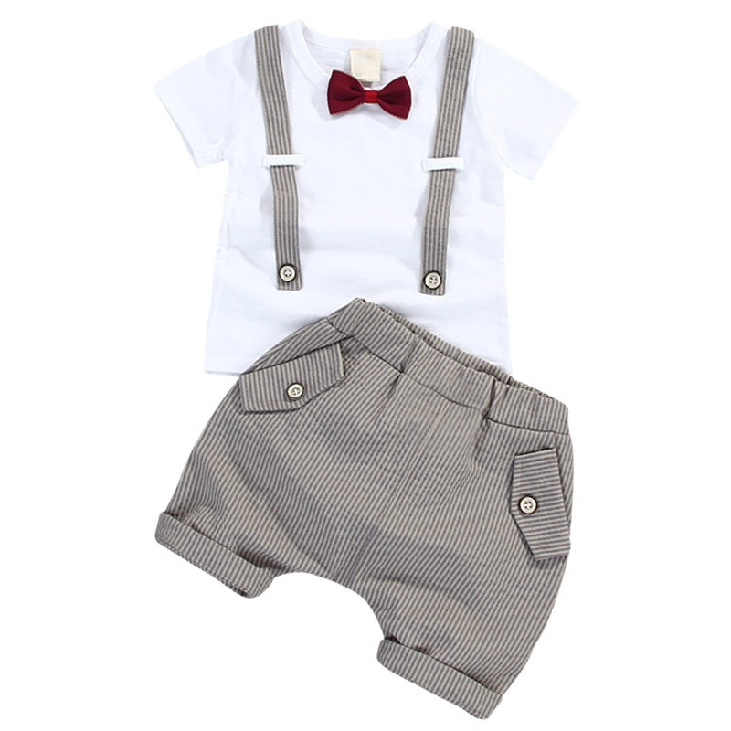 Summer Kids Boys Bow Clothes Sets Baby Gentleman High Qulity Short T shirt + Pants Toddler Boy Clothing Casual Kids Outfits Baby