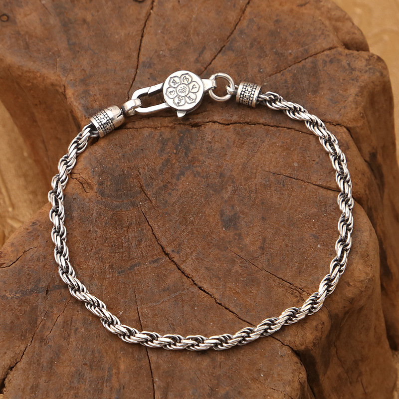 Image 2 - Real 925 Sterling Silver Braided Rope Chain Bracelets Tibetan  Buddhism Mantra Six Words And Vajra Engraved Prayer JewelryStrand  Bracelets