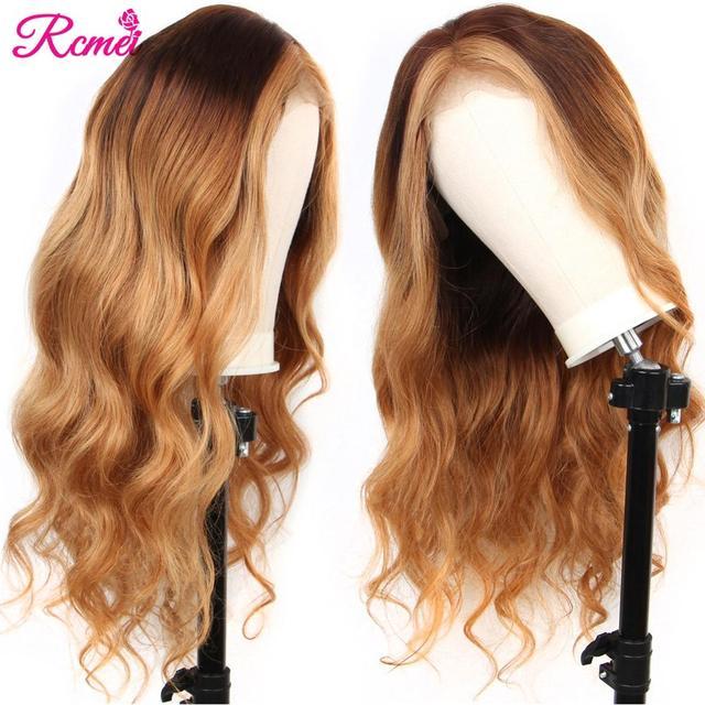 13x4 светлые волнистые прозрачные #4/27 Омбре кружевные передние человеческие волосы парики предварительно выщипанные с ребенком волосы бразильские 150% Remy волосы парик