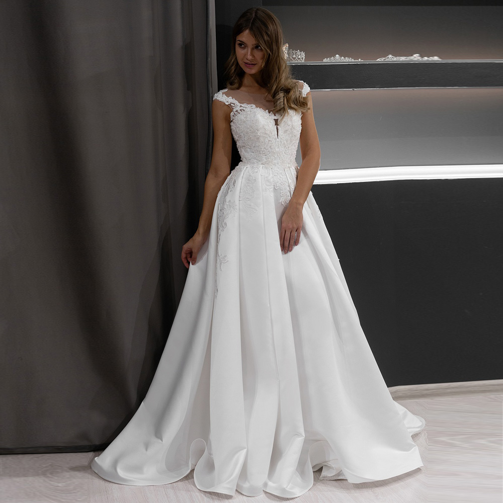 ADLN Gorgeous Appliques Lace Satin Wedding Dress Sexy Scoop Neck Sleeveless Beaded Princess Bride Gown Robe De Mariee 2020