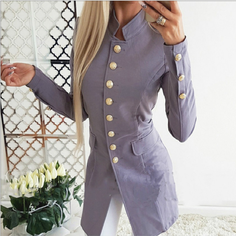 Vintage Single Breasted Office Ladies Blazer 2019 Autumn Long Sleeve Slim Blazers Women Blazer Female Tops Women Office Coat
